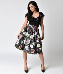 Janie Bryant For Unique Vintage 1950s Style Black Multicolor Roses High Waist Swing Skirt