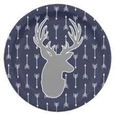 Modern Rustic Gray Deer White Arrows Paper Plate