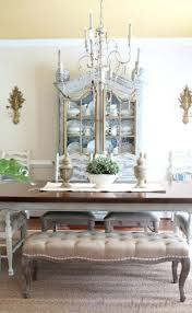 French Country Dining Room Painted Furniture Antiques Upholstered Bench Tufted Blue Toile Seagrass Rug Vintage Ethan Allen Sconces