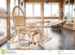 Chair At The Balcony. Rattan Rocking Chairs At Wooden ...
