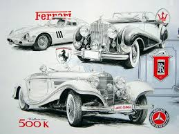 Antique Cars Drawings Ferrari Rolls And Mercedes Vintage Wallpaper
