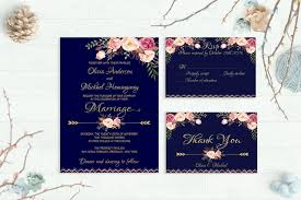 Navy Wedding Invitation Printable Floral Invite Suite Rustic Kit Gold Foil Typography Boho Peonies