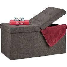 sitzbank mit stauraum faltbar gepolstert klappbarer deckel flur wohn schlafzimmer truhenbank braun