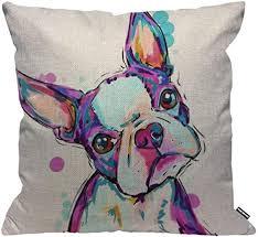 hgod designs kissenbezug boston terrier hund aquarell wurfkissenbezug home deko für männer frauen wohnzimmer schlafzimmer sofa stuhl 45 x 45 cm