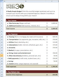 The Simple Budget Spreadsheet Is An Easy One Page For Excel