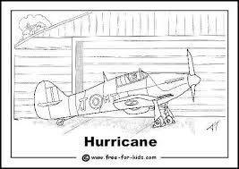 Hurricane Fighter Plane Colouring Page