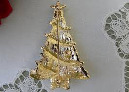 Vintage Gold Christmas Tree Pin With Pearls And Aurora Borealis Rhinestones