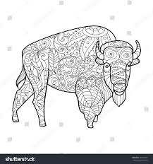 Bison Animal Coloring Book For Adults Vector Illustration Anti Stress Adult
