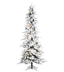 Pre Lit Pencil Christmas Tree Slim Flocked Pine Artificial Trees Cheap