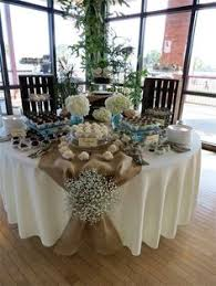 Burlap Rustic Table Decorations Shabby Chic Wedding Rentals I Love The Tie With Babys Breath Cute Idea