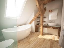 Interessane Gestaltung Eingelassene Badewanne Hölzerne Bretter Dachgeschoss Bad Mit Holzbalken Und Freistehender Badewanne