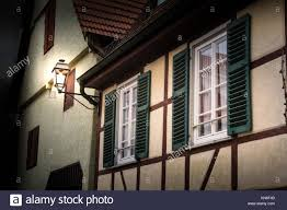 100 German House Design Cottage Lamp Timber Shutters Green Vintage Stock