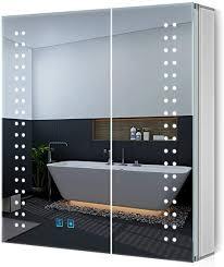 quavikey led spiegelschrank 63x65cm b h badezimmer spiegelschrank mit beleuchtung aluminium lichtspiegelschrank antibeschlag touchschalter helligkeit