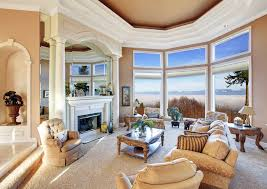 Beautiful Living Room With Pillar Fireplace And Mountain View