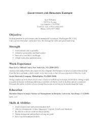 Employment Resume Examples Cover Letter For Government Sample