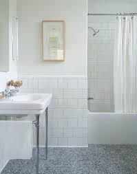 chrome leg washstand on gray marble hex tile floor transitional