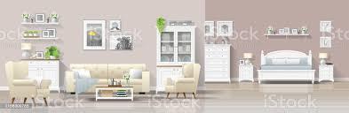 moderne landhaus innenhintergrund mit wohnzimmer und schlafzimmer kombination vektor illustration stock vektor und mehr bilder architektur