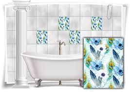 fliesen aufkleber fliesen bild mosaik kachel struktur blumen pfau federn blau sticker bad wc küche