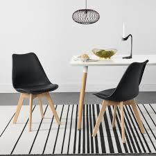 2x design stühle esszimmerstuhl schwarz polyurethankunstleder stuhl holzgestell en casa