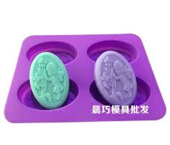 4 Cavity Floral Fairy Cake Mold Soap Silicone Mould For