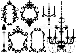 Download Antique Picture Frames And Chandelier Stock Vector