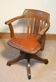 Oak Swivel Desk Chair Rolling Wooden Desk Chair Leather Swivel Desk ...