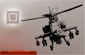 Ebay Wall Decoration Stickers by Helicopter Wall Art Childrens Apache Gunship Helicopter Silhouette