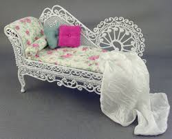 White Wicker Patio Furniture Dressed In Pink Floral By Debs Minis