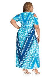 plus size dresses watercolor tribal print cold shoulder maxi dress