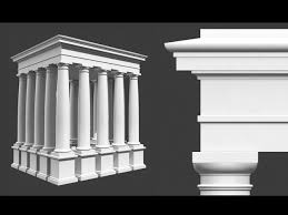Roman Tuscan Column Entablature & Pedestal 3d Model Architecture