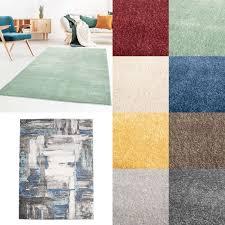 moderner kurzflor designer wohnzimmer teppich galant uni und