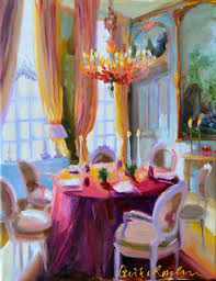 Art Print Of An Original Painting Interior CHATEAU DINING ROOM French
