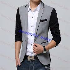 New Style Men Blazer 2015 Suit Brand Casual Jacket Latest Coat Designs Leather Patch Blazers