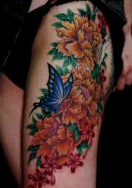 Above This Japanese Tattoo Design Boasts A Butterfly In Garden Of Flowers Both Which Are Symbols Femininity The Blue Colors