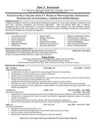 Electrical Resume Examples Example Cv Sample