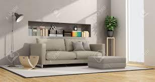 modernes wohnzimmer mit sofa hocker und nische mit bücher und objekte 3d rendering