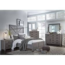 Gray Rustic Contemporary 6 Piece Queen Bedroom Set Austin