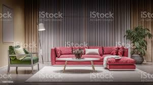 modernes design interieur wohnzimmer roten sofa mit grünen stuhl stockfoto und mehr bilder behaglich