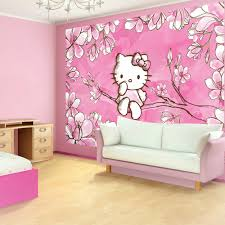 Pink Wallpaper Bedroom Ideas With Hello Kitty Design And Girls
