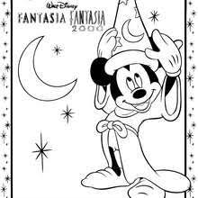 Fantasia MAGIC BROOM MICKEY MOUSE With HAT Coloring Page 3