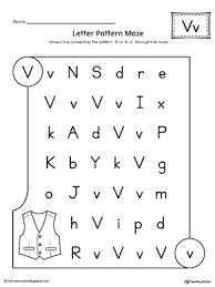 Letter V Pattern Maze Worksheet
