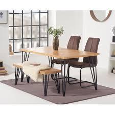 essgruppe hinnenk mit 4 stühlen und 1 bank brayden studio stuhlfarbe bunt rustikal