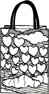 Gift Bag Hearts Coloring Page