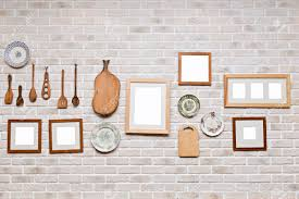 Picture Frame In Kitchen Wall Photo Art Gallery On Brick Stock