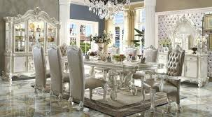 White Dining Room Set Splendid Sets Tables Leather Chairs With Bench
