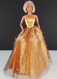 barbie handmade elegant gold glitter evening gown dress 1960 u0027s