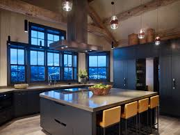 100 Exposed Joists Contemporary Kitchen Features Dark Cabinetry And A Vaulted