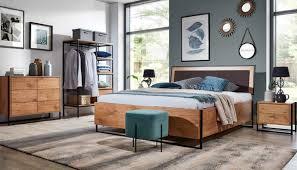 5 tlg komplett set holz schlafzimmer loft stil design bett kommode schrank neu