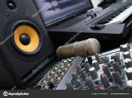 Mixer Condenser Microphone And Professional Monitor Concept Of Home Music Studio Stock