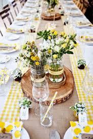 Spring Wedding Ideas Centerpiece Yellow Gingham Table Decor